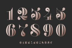 Font of numbers in classical french didot stock image