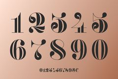 Font of numbers in classical french didot vector illustration