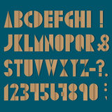 Font, numbers and punctuation mark made from old paper. Vector set Stock Photos