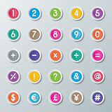 123 font. Numbers 0 to 9 and symbols on colorful paper buttons Stock Illustration
