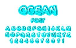 Font ocean. Vector Illustration vector illustration