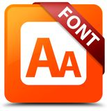Font orange square button red ribbon in corner. Font isolated on orange square button with red ribbon in corner abstract illustration Stock Photography