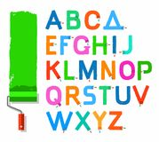 Font paint roller, English capital letters, colored. Stock Photos