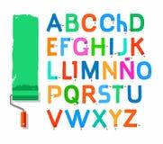 Font paint roller, Spanish alphabet, capital letter, color. Stock Photo