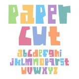 Font paper cut lower case pastel colors. Font paper cut lower case, pastel colors stock illustration