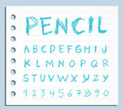 Font pencil crayon. Handwritten Vector illustration. Stock Images