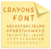 Font pencil crayon. Handwritten Vector illustration. Stock Photos