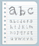 Font pencil crayon. Handwritten Vector illustration. Royalty Free Stock Photography