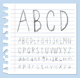 Font pencil crayon. Handwritten Vector illustration. Royalty Free Stock Images