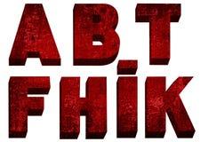 Font red retro. Font red bulk retro on white background Stock Images