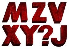 Font red retro. Font red bulk retro on white background Royalty Free Stock Photos