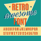 Font. Retro alphabet vector font. Type letters and numbers Stock Photography