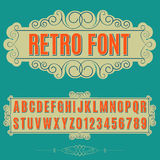 Font. Retro alphabet vector font. Type letters and numbers Stock Photo