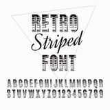 Font. Retro alphabet vector font. Type letters and numbers. Striped font Stock Photo