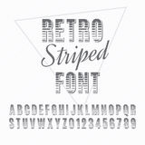 Font. Retro alphabet vector font. Type letters and numbers. Striped font Stock Photos