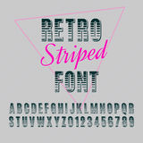 Font. Retro alphabet vector font. Type letters and numbers. Striped font Vector Illustration