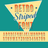 Font. Retro alphabet vector font. Type letters and numbers. Striped font Stock Illustration