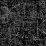 Font roler seamless black 01. Font grunge seamless pattern, vector illustratuon clip-art Stock Image