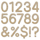 Font rough gravel texture numeric 0 to 9 Stock Image