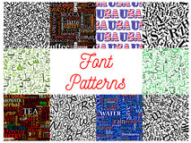 Font seamless patterns with letters and numbers. Font seamless pattern background set with letters, numbers, arabic calligraphy characters, gothic roman capitals Stock Photography