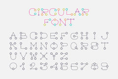Font set design using circle and connecting line style. Royalty Free Stock Images