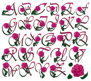 Font set floral. Pink rose decorated colorful  font set Royalty Free Stock Photo