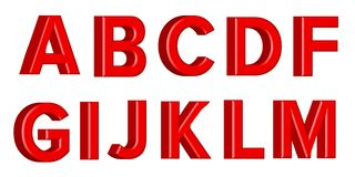 Font set with letters Glossy red paint letters. 3D render of bubble font with glint. Vector illustration vector illustration