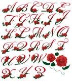 FONT SET red floral  illustration Royalty Free Stock Photo