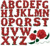 Font set red roses floral  illustration Stock Photo
