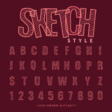 Font sketch alphabet, Vector illustration Royalty Free Stock Photo