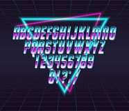 Font style 80 s. Color, bright font in the old style. Vector, vintage alphabet. Style 80 s, 90 s retro posters. Color gradient Royalty Free Stock Images