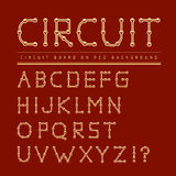 Font stylized track electronic circuit board. Stock Photography