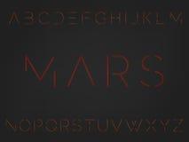 Font. Typeface. Alphabet with futuristic minimal design. Mars. Typographic alphabet in a set. Modern minimalistic font MARS vector illustration