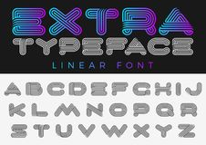 Font vector alphabet technology future sport design linear style.ABC Letter Logo Monogram templates. Creative outline typeface. Font vector alphabet technology Royalty Free Stock Photography