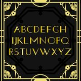Font vector. Art deco vintage alphabet, retro gold frame or border. Luxury design abc isolated on black background. For. Logo, label, sign decoration royalty free illustration