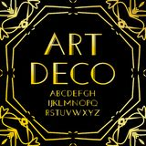 Font vector. Art deco vintage alphabet, retro gold frame or border. Luxury design abc isolated on black background. For. Logo, label, sign decoration vector illustration
