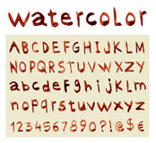 Font Watercolor. Handwritten Vector illustration Stock Photo