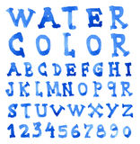 Font Watercolor. Handwritten Vector illustration Stock Photography