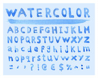 Font Watercolor. Handwritten Vector illustration Royalty Free Stock Photos