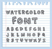 Font Watercolor. Handwritten Vector illustration. Royalty Free Stock Photography