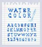 Font Watercolor. Handwritten Vector illustration. Stock Photography
