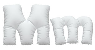Font. White pillow font. isolated background. 3D illustration Stock Photography