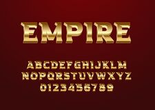 Free Font With Luxury Vintage Style, Set Of Alphabet And Number. Gold Text Effect For Game Title, Poster Headline, Movie Poster Royalty Free Stock Photo - 219828725