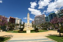 Fontain at Luceros Square in sunny spring day Stock Photography