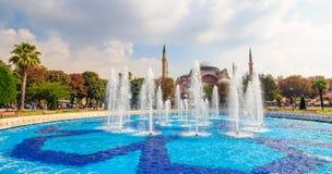 Fontain near Sophia basilica museum in Istanbul. ISTANBUL, TURKEY - AUGUST 18, 2015: Fontain in park near Sophia basilica museum in Istanbul, Turkey on a bright Stock Image