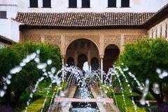 Fontain på slotten av Generalife granada Royaltyfria Bilder