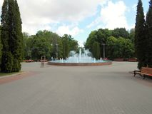 Fountain in the park in the summer. Stock Photos
