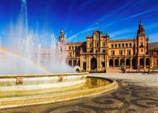 Fontain Plaza de Espana στη Σεβίλη Στοκ Φωτογραφίες
