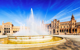 Fontain at Plaza de Espana in sunny day. Seville Royalty Free Stock Photo