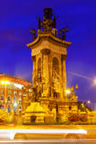 Fontain on Spain square at Barcelona in night Stock Images